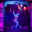 "Opium Den, 2009<br>structural and ornamental metal work, ornamental wood work, scenic finish, fog machine, lighting<br>10'x4'3""x11'4""<br>Photo courtesy of Kaylin Idora<br>Dita Von Teese"