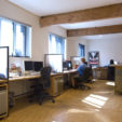 OBEY Building, Studio Number One, 2009<br> Custom steel and wood desks, reception area, benches<br> <br><br>  Shepard Fairey